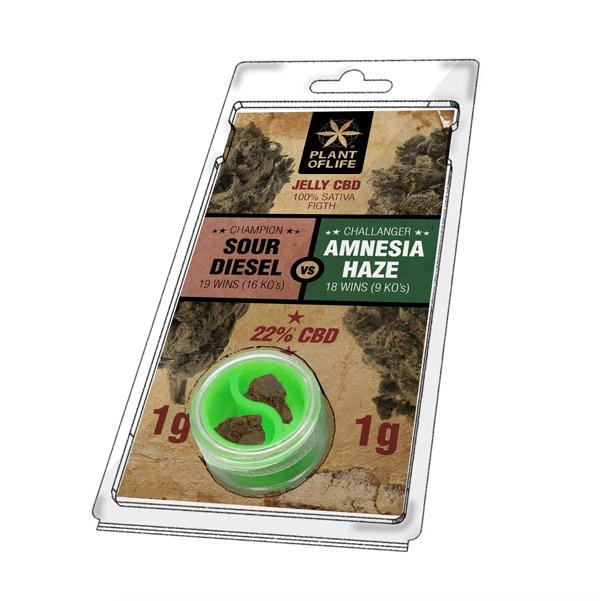 Résine 22% CBD de Amnesia Haze VS Sour Diesel – Plant of Life® (Boite de 10pcs)